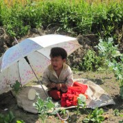 While mom labors in the fields her small one remains on the blanket sometimes attended by an older child
