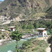 One of the many rivers in Bhutan providing their greatest resource-hydro electic power which they sell primarily to India