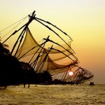 Chinese Nets Silhouetted in Cochin Sunset